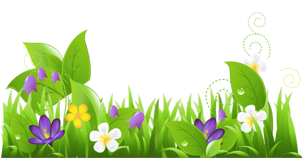 Grass and Flowers PNG Clipart.