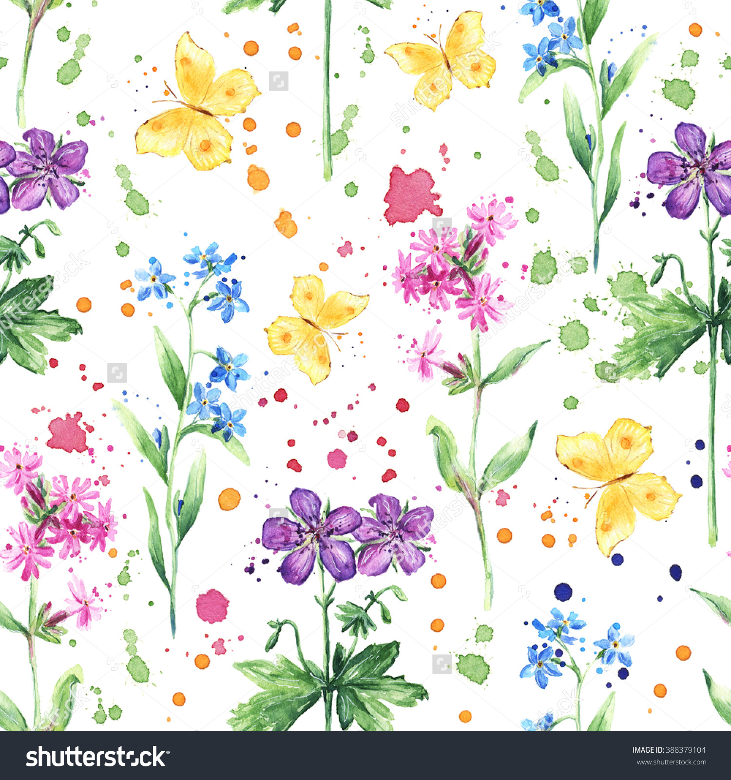 Seamless Floral Pattern With Colorful Wild Flowers, Meadow Flowers.