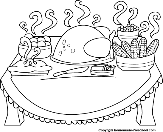 Dinner clipart black and white » Clipart Station.