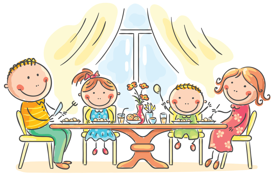 School Family Style Meal Time Clipart.
