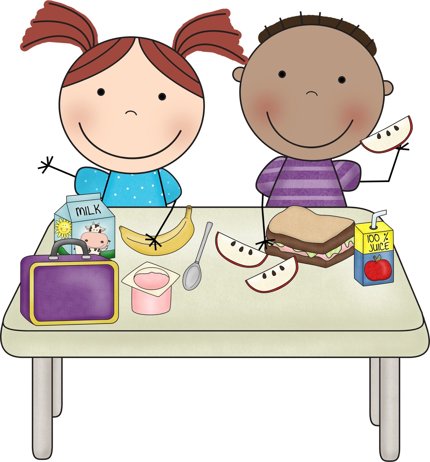 Kids meal time clipart.
