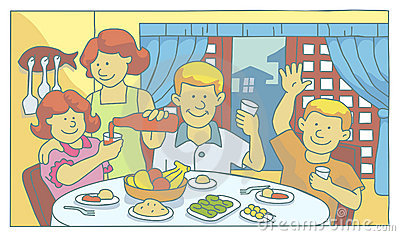 Mealtime Stock Illustrations.