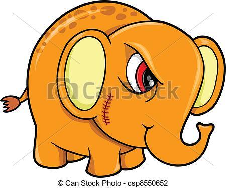 Vector Illustration of Tough Mean Elephant Animal Vector.