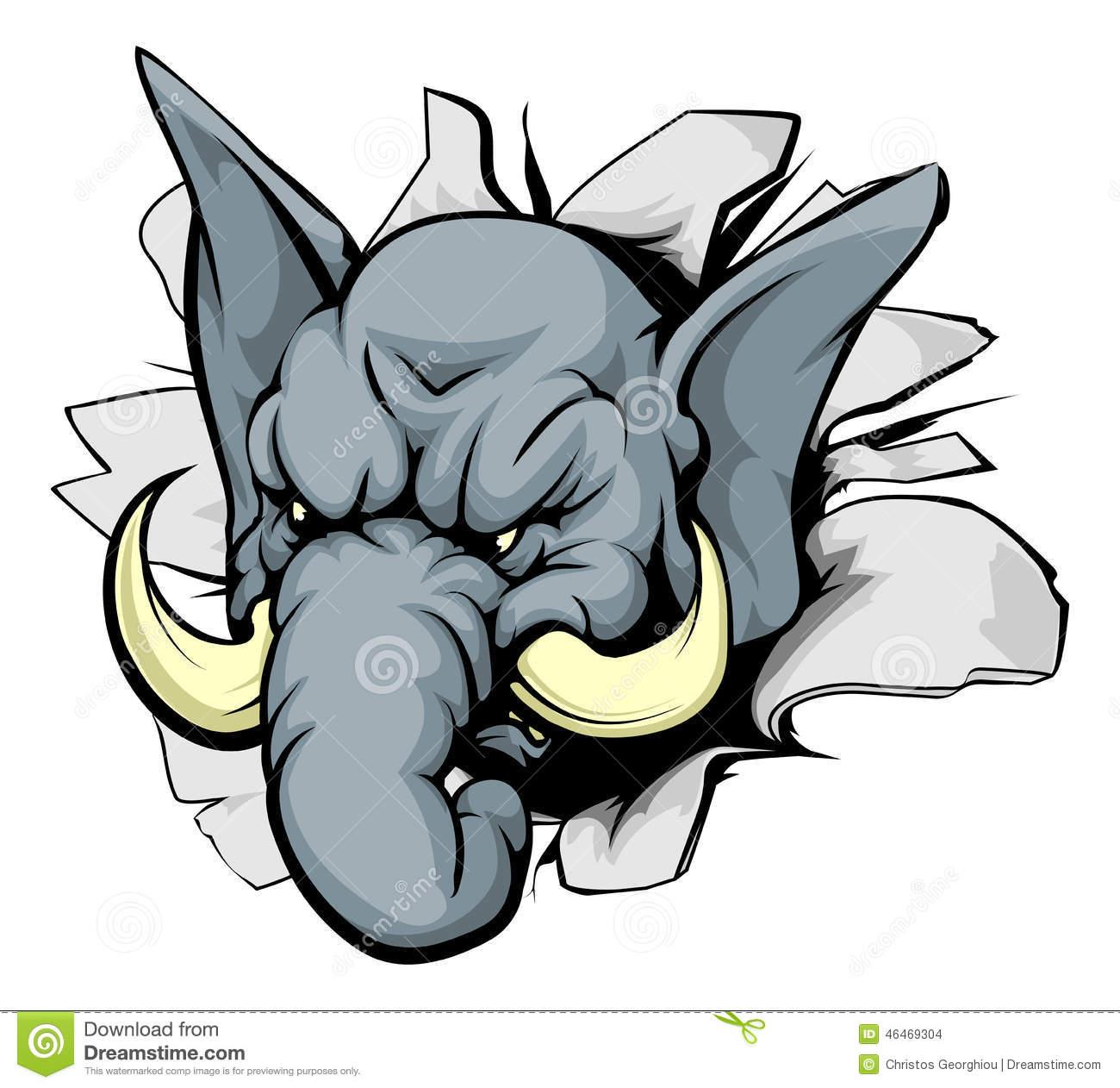 Elephant Breakthrough Stock Vector.
