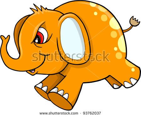 Angry Mad Mean Elephant Safari Wildlife Vector Illustration Art.