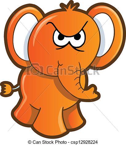 Angry animal cartoon elephant illustration mad Vector Clipart EPS.