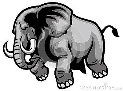 Elephant Mascot Head Vector Graphic Royalty Free Stock Image.