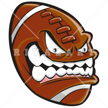 Sports Clipart Image of Mean Football Graphic Color With.