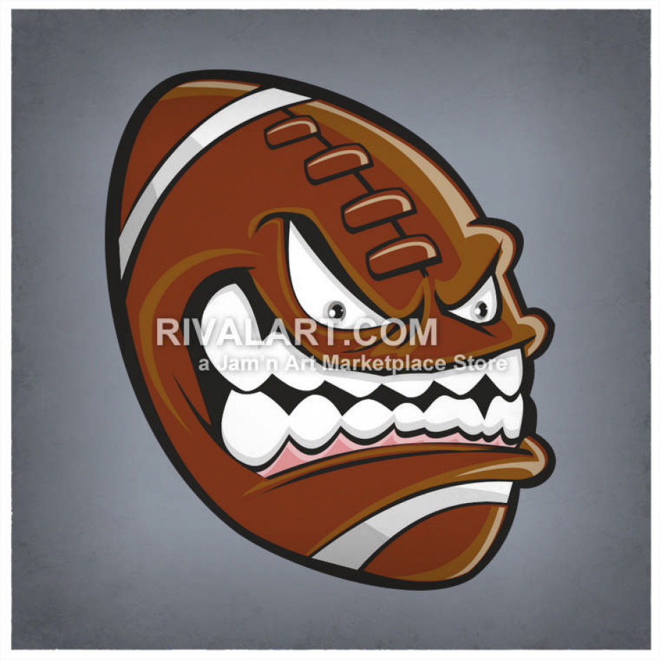 Mean Football Graphic Color with Face.