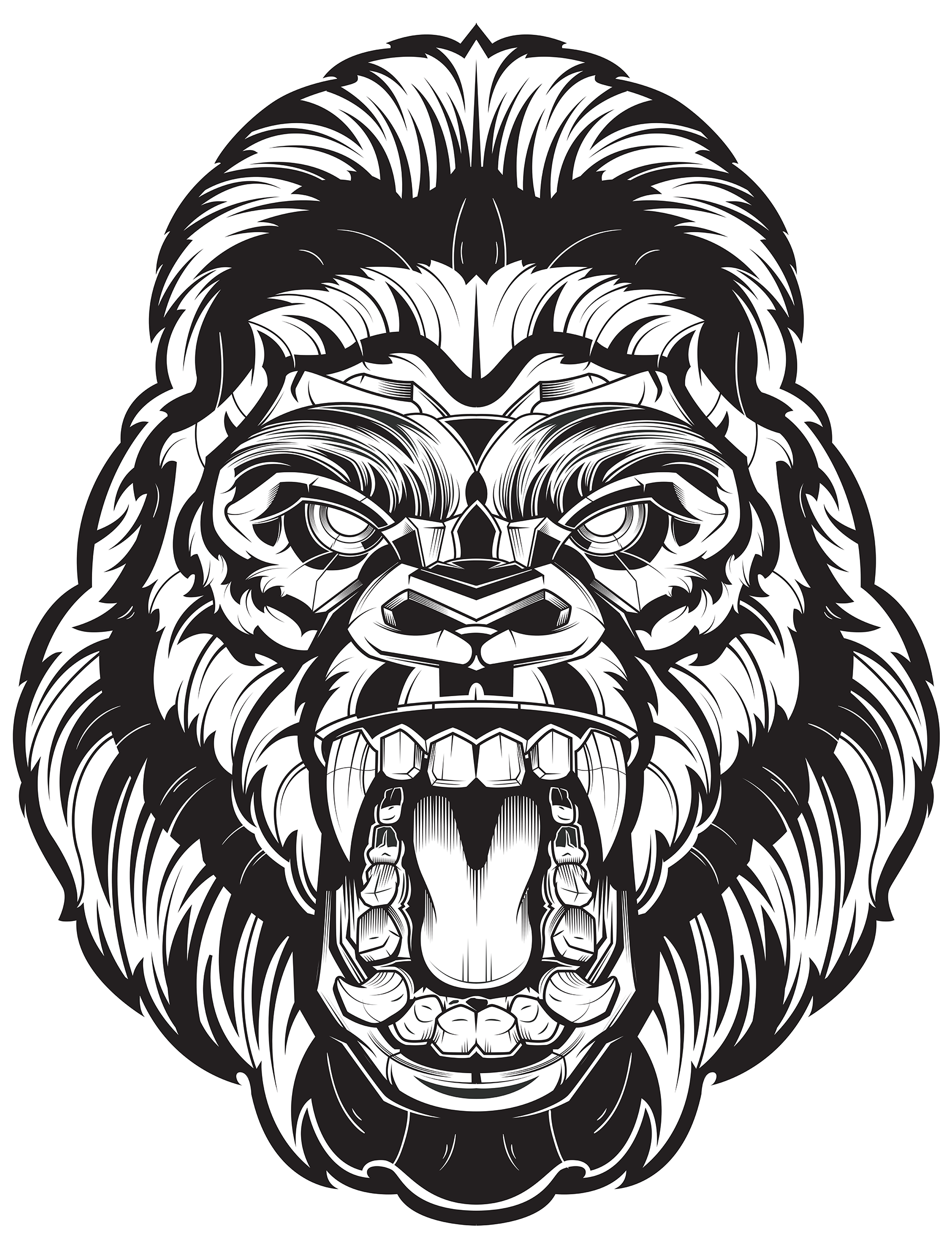Angry Gorilla Face Png Clipart.