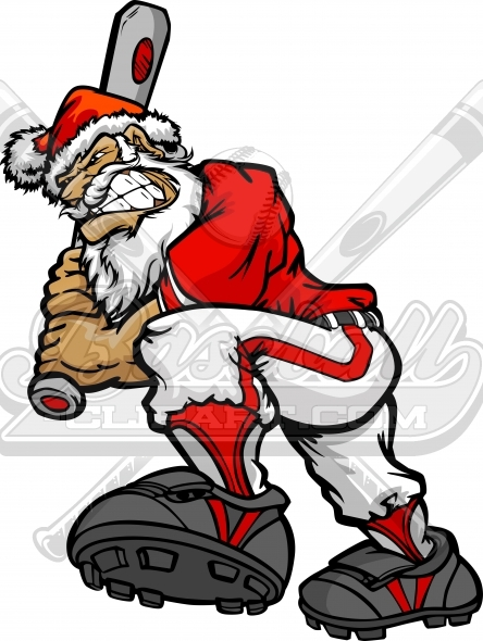 Christmas Santa Claus Baseball Vector Clipart Image.