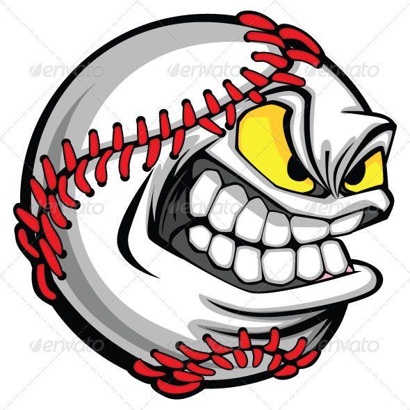 Baseball Face Cartoon Ball Vector Image #GraphicRiver Vector.