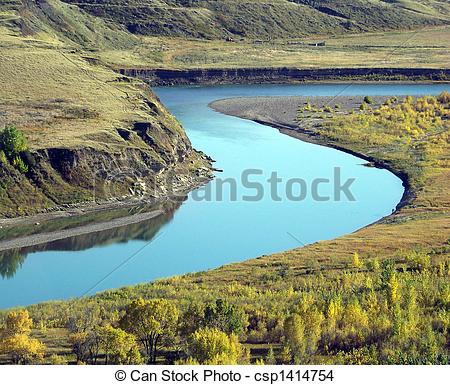 Stock Photo of The river meanders through the coulee valley bottom.