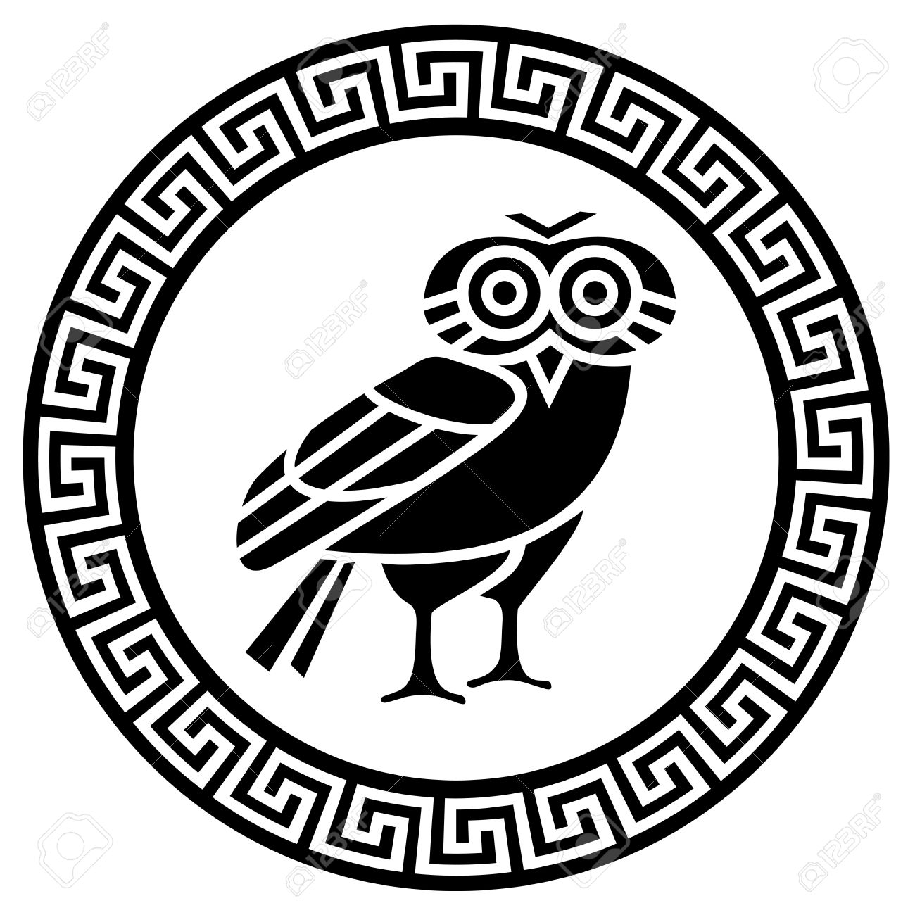 Round Greek Meander And Owl Silhouette Royalty Free Cliparts.