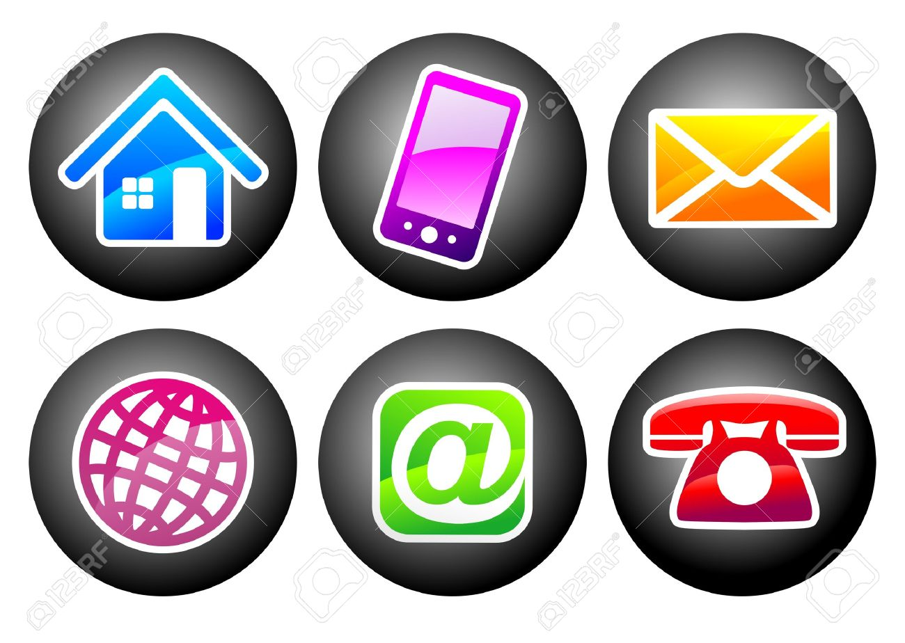 Symbols For Means Of Communication And Contact For Web Design.
