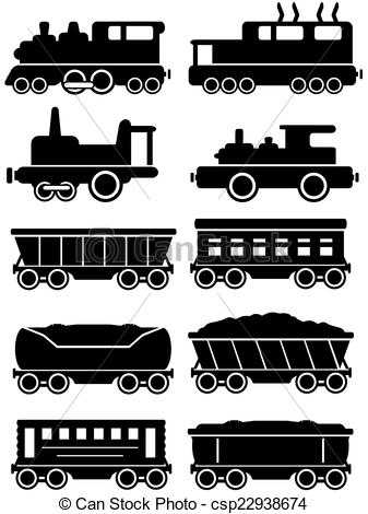 Vectors Illustration of set trains with freight and passenger car.