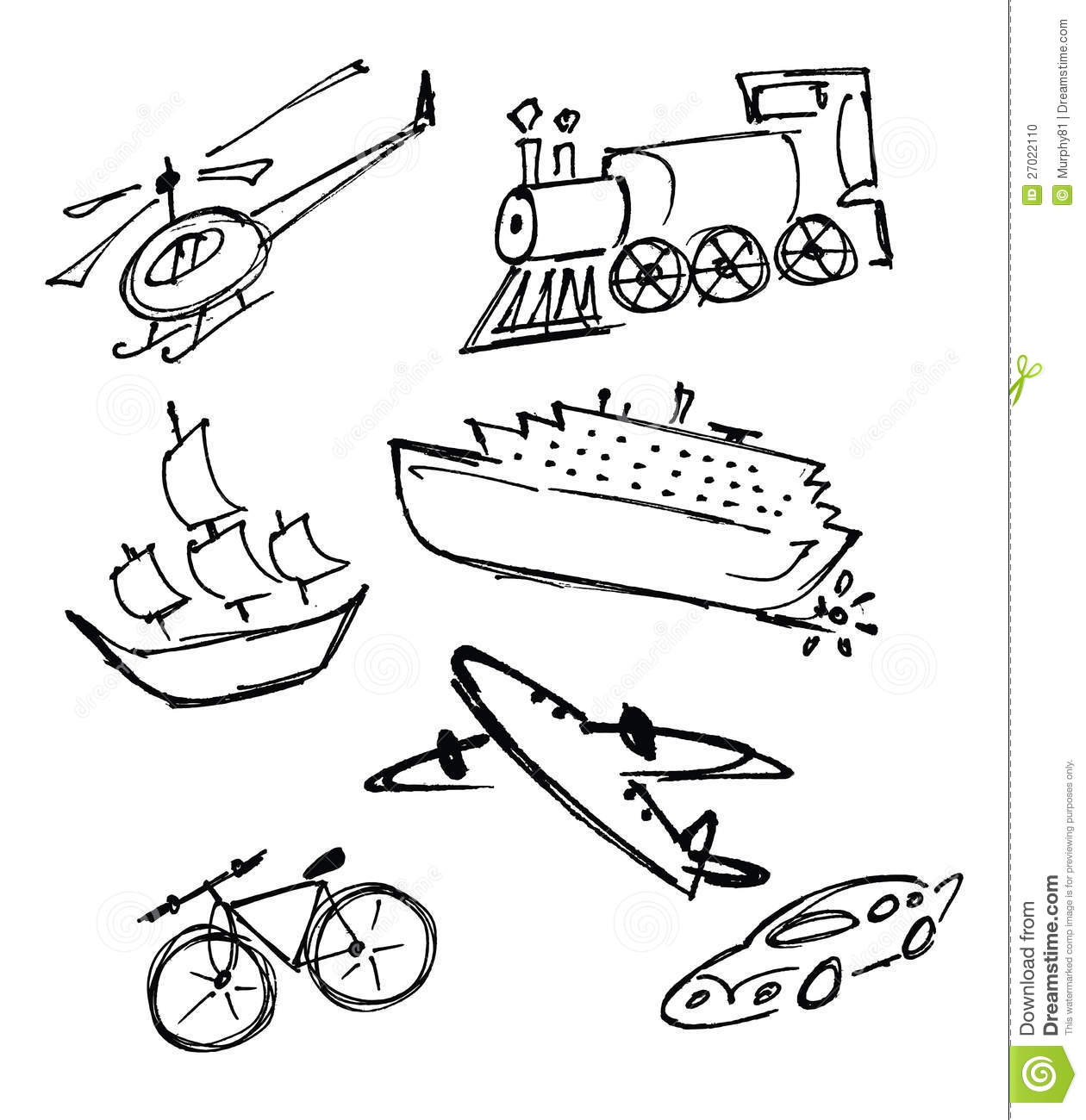 Transportation In A Line Clipart.