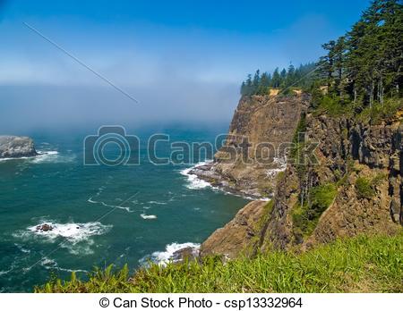 Stock Image of Rugged Rocky Coastline on the Oregon Coast Overlook.