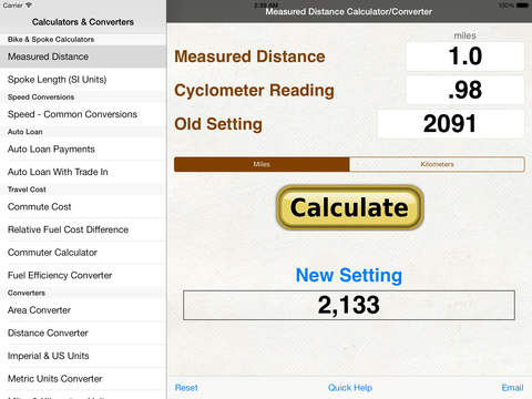 Bicycle Spoke Calculator, Measured Mile & Speed Converter (MPH.