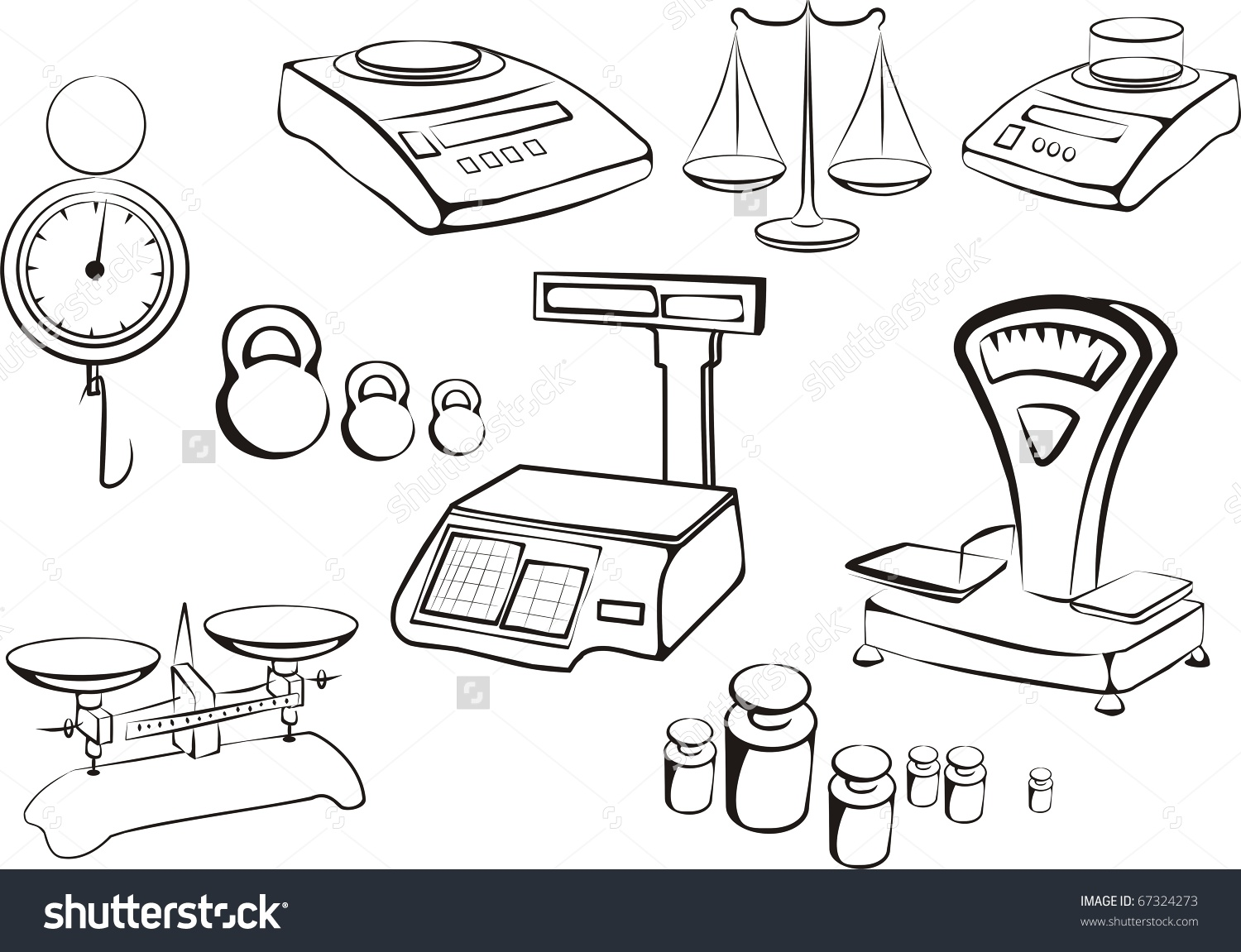 Set Different Libra Weight Measuring Instruments Stock Vector.