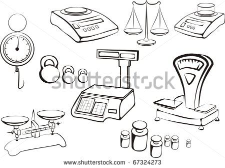 Weight measurement tools clipart.