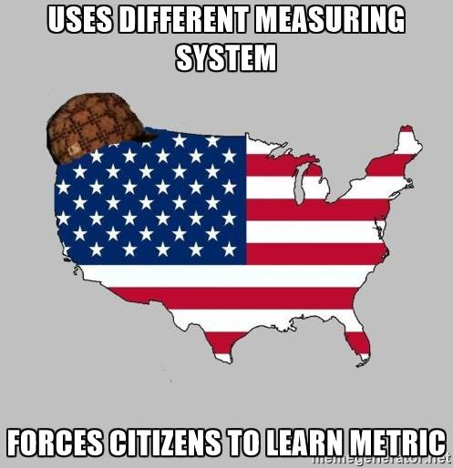 uses different measuring system forces citizens to learn metric.