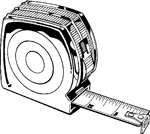 Tape measure black and white clipart.