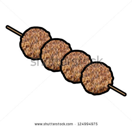 Skewer Grilled Meat Balls Yakitori Stock Vector 124994975.