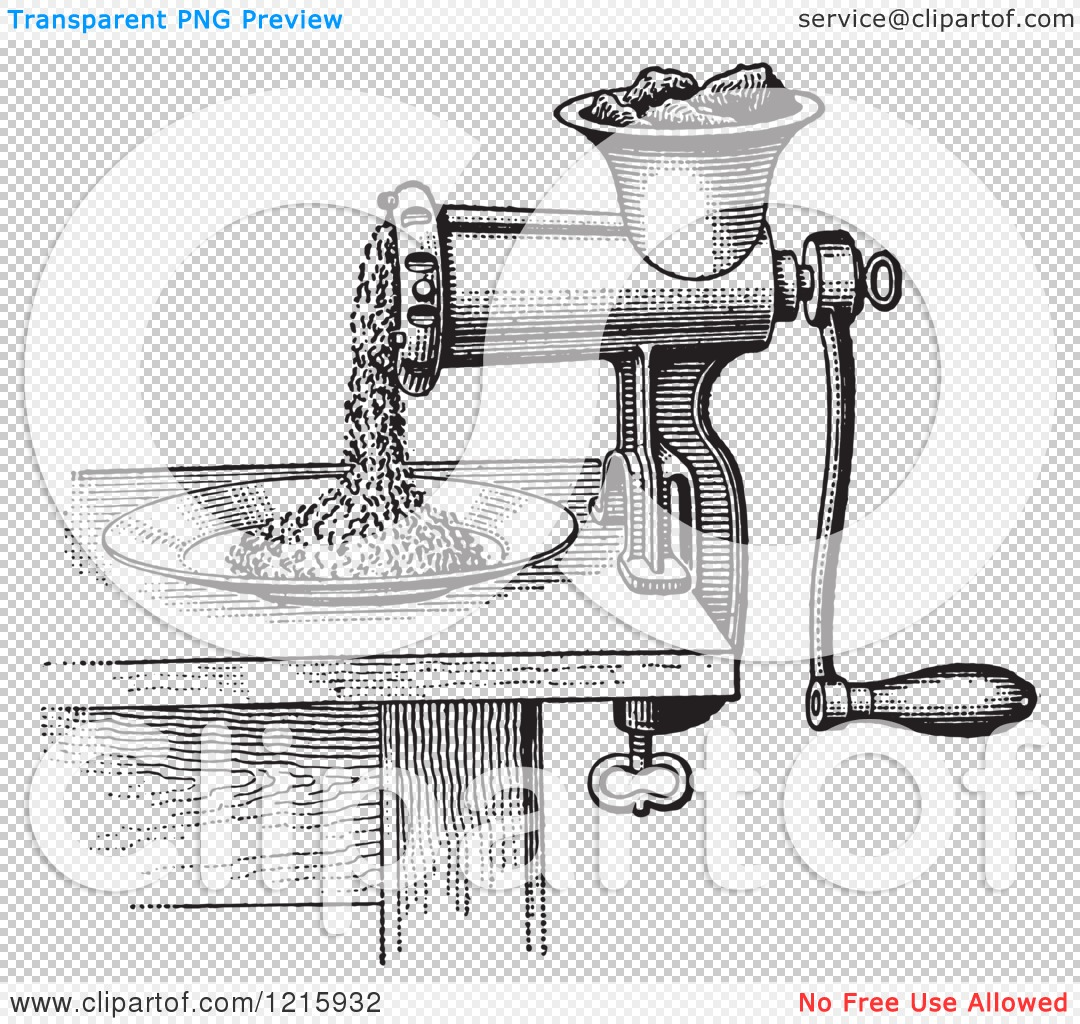 Vintage Clipart of a Retro Antique Meat Grinder or Chopper in.
