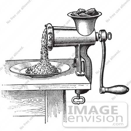 Retro Clipart Of A Vintage Antique Meat Grinder Or Chopper In.