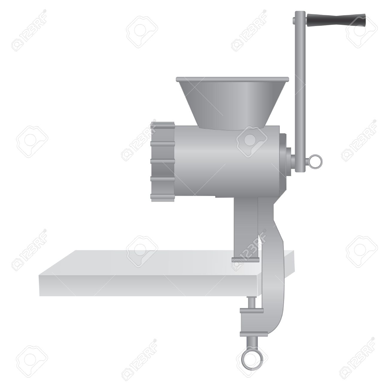 Metallic Classic Meat Grinder / Chopper On Table. Vector.