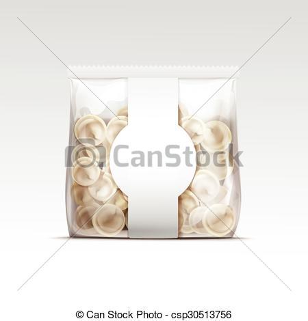 Clipart Vector of Pelmeni Meat Dumplings Ravioli Packaging.