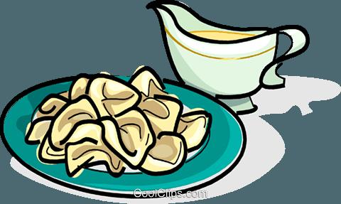 Russian cuisine pelmens meat dumplings Royalty Free Vector Clip.