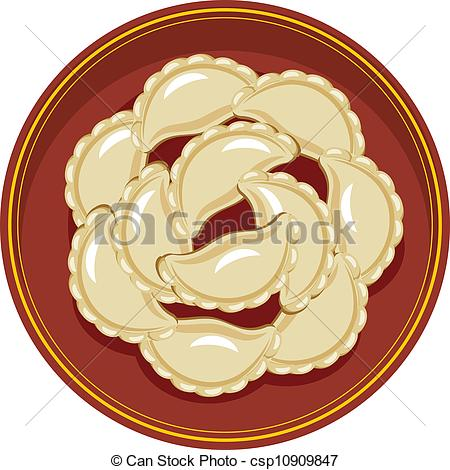 EPS Vector of boiled meat dumplings in a bowl csp10909847.