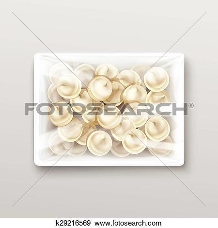 Clip Art of Pelmeni Meat Dumplings Ravioli Packaging k29216569.