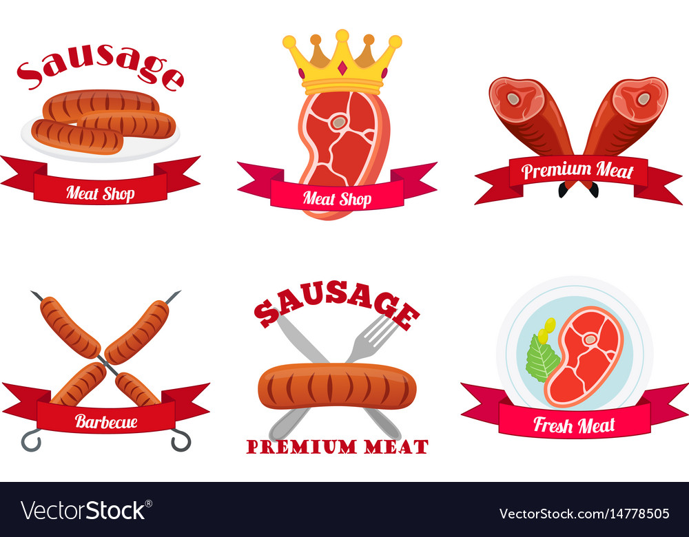 Meat logos labels fresh meat in flat style.