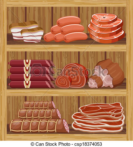 Clipart Vector of Shelfs with meat products. Meat market. vector.