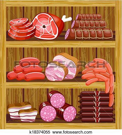 Clip Art of Meat market. k18374057.