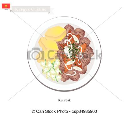 Vector Clipart of Kuurdak or Kyrgyz Stewed Brown Meat with Onion.