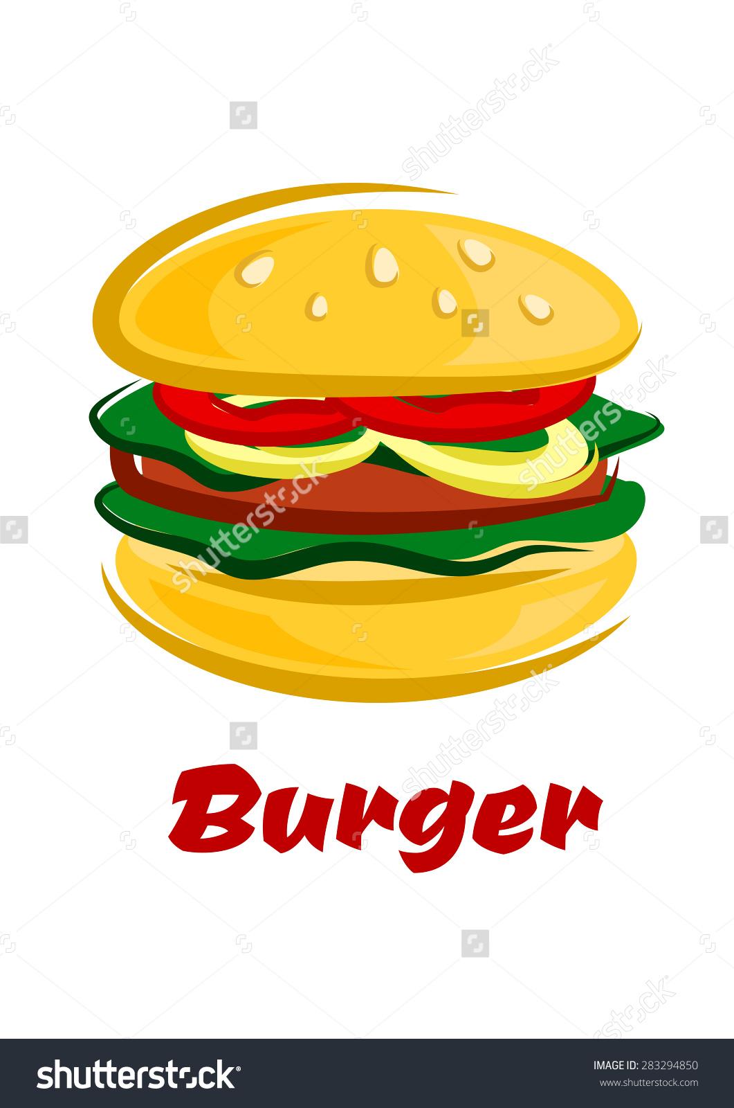 Tasty Burger Cartoon Style Sliced Tomato Stock Vector 283294850.