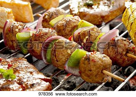 Stock Images of Meat, onion and pepper kebabs on barbecue 978356.