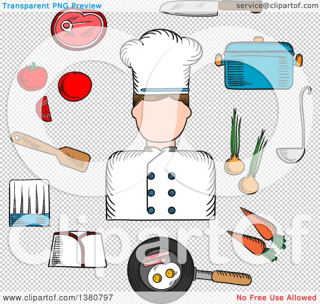 Clipart of a Sketched Chef Profession with Cook in Uniform.