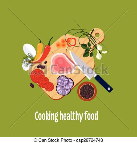 EPS Vector of Food Preparation. Knife, Meat, Onions and Spices.