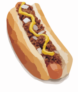 3D Art Drawing Ronjoewhite: Meat and Onion Hot Dog Clip Art.