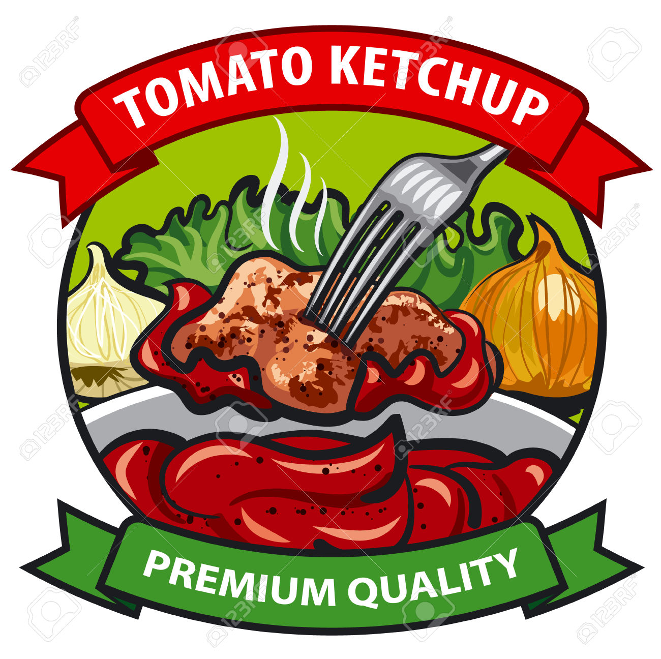 Tomato Ketchup Label Design, Tomato Sauce With Meat, Onion.