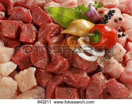Stock Photography of Mixed diced meat with onion, herbs and spices.