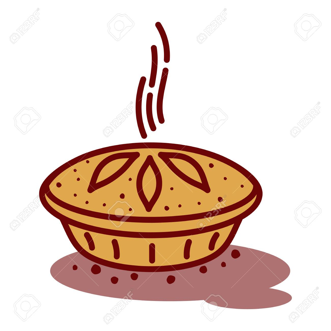 Meat pie, roll, quiche vector line two color illustration. Hot,...