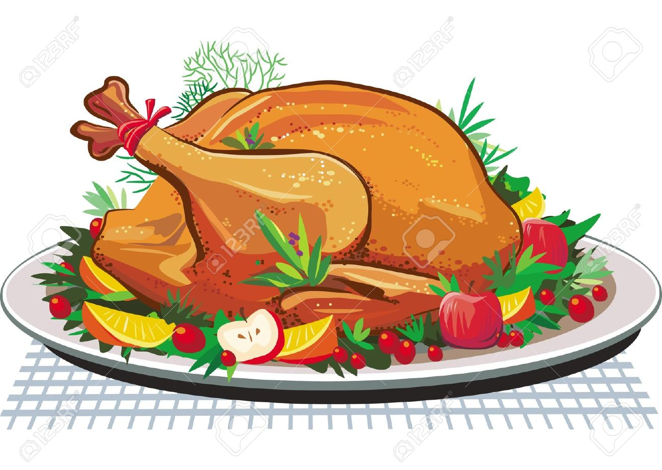 Roast Turkey On The Plate Royalty Free Cliparts, Vectors, And.