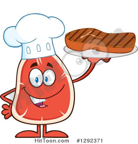 Steak Character Clipart #1292371: Cartoon Beef Steak Chef Mascot.