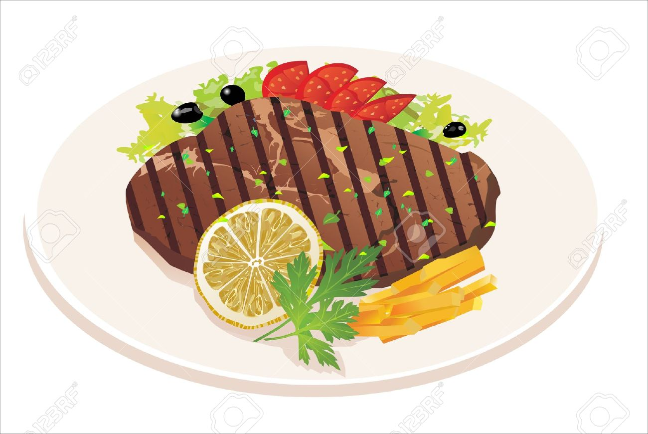 Meat and vegetables clipart.